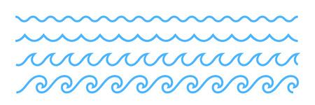 Blue line ocean wave ornament. Seamless vector marine decoration pattern background Illustration