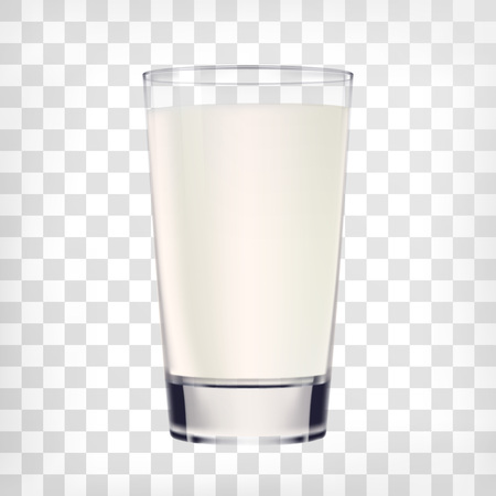 szkła mleka na przezroczystym tle. Vector ilustracją szkła filiżanka mleka