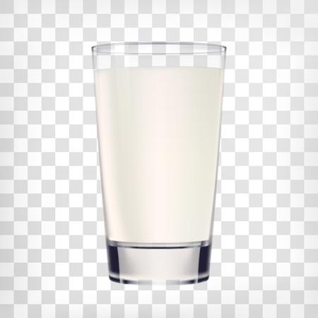 vaso de leche: vaso de leche en el fondo transparente. Vector de la taza de cristal de la ilustración de la leche
