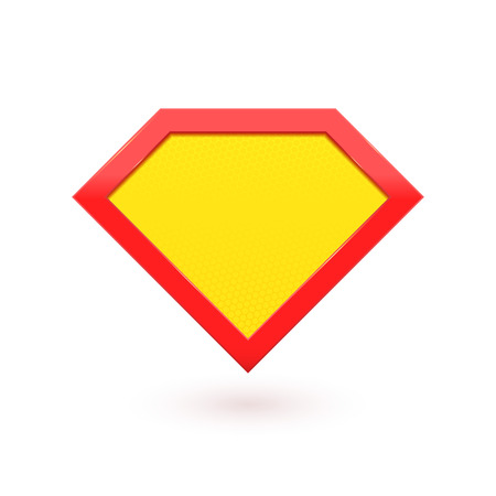 Super hero comic character emblem. Yellow with red shield icon. Vector diamond symbol shape superhero icon label