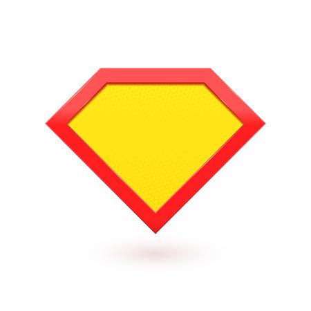 Super hrdina komická postava znak. Žlutá s červenou ikonou štítu. Vektorové diamant symbol tvar ikona superhrdina štítek