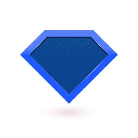 Emblema di carattere comico dell'eroe eccellente. Icona blu scudo. Simbolo di simbolo di diamante vettore forma icona dell'icona del supereroe