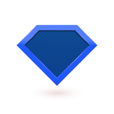 Super hero comic character emblem. Blue shield icon. Vector diamond symbol shape superhero icon label