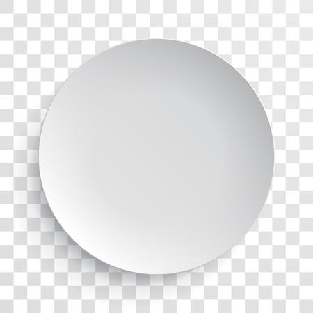 geïsoleerd lege witte schotel plaat 3D-mockup model. Vector ronde porselein, keramiek bord. Illustratie op een transparante achtergrond