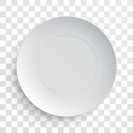 dinner plate: Empty white dish plate isolated 3d mockup model. Vector round porcelain, ceramic dinner plate. Illustration on transparent background Illustration