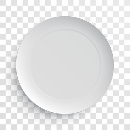 Empty white dish plate isolated 3d mockup model. Vector round porcelain, ceramic dinner plate. Illustration on transparent background Vettoriali