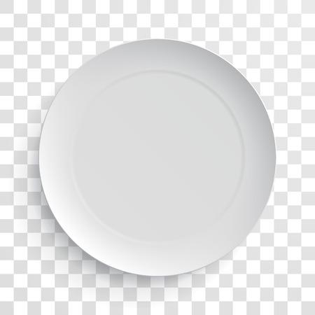 Vide plaque de plat blanc isolé modèle 3d maquette. Vector round porcelaine, assiette en céramique. Illustration sur fond transparent Vecteurs