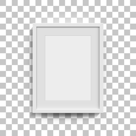 black wall: Picture frame for photographs. Vector realisitc paper or plastic white picture-framing mat with wide black borders shadow. Isolated picture frame A3, A4 vertical mockup template on gray Illustration