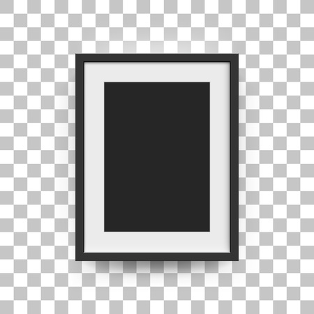 a3: Picture frame for photographs. Vector realisitc paper or plastic white picture-framing mat with wide black borders shadow. Isolated picture frame A3, A4 vertical mockup template on gray Illustration