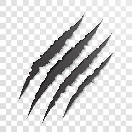 爪スクラッチ マーク。獣の熊や虎の前足のベクトル鋭い破れたこすりトレース。爪傷によって引き裂かれた細断紙