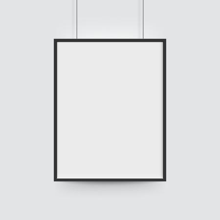 Bilderrahmen für Fotos. Vector realitätsnahe Papier oder Kunststoff weißen leeren Plakat mit schwarzen Rändern. Isolierte Bilderrahmen hängen an Seilen Vektorgrafik