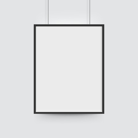 Picture frame for photographs. Vector realisitc paper or plastic white blank poster with black borders. Isolated picture frame hanging on ropes
