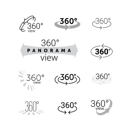360 degrees rotating view icon. Vector line 360 degrees panorama label. VR 3D virtual reality panoramic camera view capture symbol set. Rotation arrows