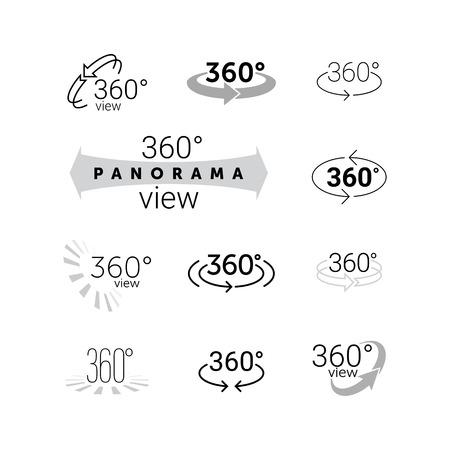 360 grados que giran la vista de iconos. Vector de la línea de 360 ??grados etiqueta panorama. establece VR 3D símbolo cámara panorámica vista de captura de la realidad virtual. flechas de rotación Ilustración de vector