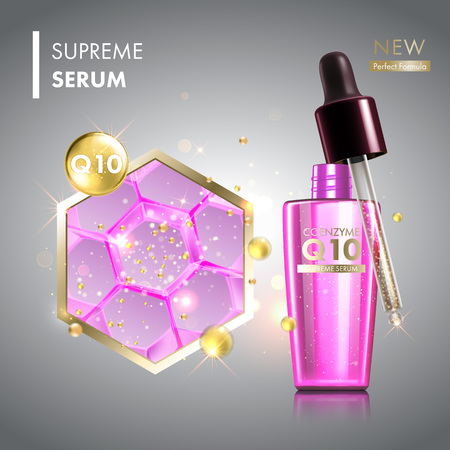 perfect skin: Skin cell moisture essence with coenzyme Q10. Face skin care collagen oil drop essence with glass dropper. Premium shining serum droplet