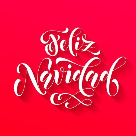 Feliz Navidad modern lettering for Spanish Merry Christmas greeting holiday card. Vector hand drawn festive text for banner, poster, invitation on red background. Vector Illustration