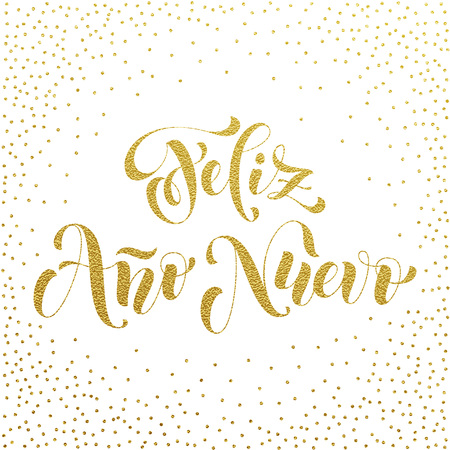 nuevo: Feliz Ano Nuevo gold glitter modern lettering for Spanish Happy New Year greeting holiday card. Vector hand drawn festive text for banner, poster, invitation on black background.