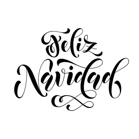 Feliz Navidad modern lettering for Spanish Merry Christmas greeting holiday card. Vector hand drawn festive text for banner, poster, invitation on red background.  イラスト・ベクター素材