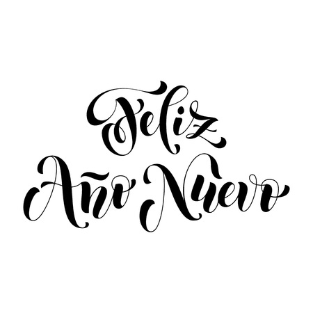 nuevo: Feliz Ano Nuevo white modern lettering for Spanish Happy New Year greeting holiday card. Vector hand drawn festive text for banner, poster, invitation on red background.