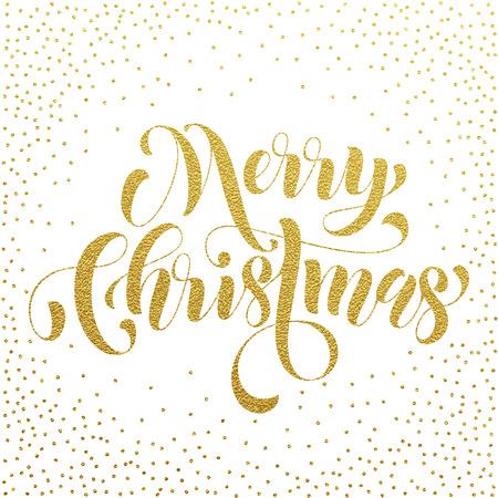 joyeux: Merry Christmas gold glitter lettering greeting card. Vector hand drawn festive text for banner, poster, invitation white background. International feliz navidad, joyeux noel, weihnachten greeting Illustration