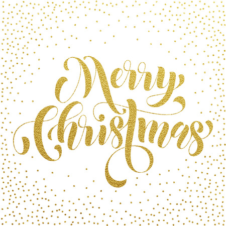 weihnachten: Merry Christmas gold glitter lettering greeting card. Vector hand drawn festive text for banner, poster, invitation white background. International feliz navidad, joyeux noel, weihnachten greeting Illustration
