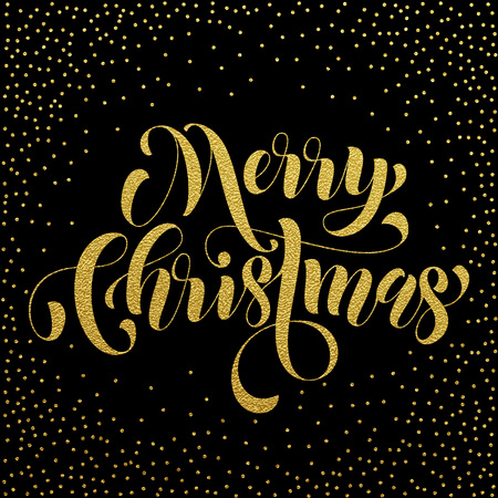 weihnachten: Merry Christmas gold glitter lettering greeting card. Vector hand drawn festive text for banner, poster, invitation black background. International feliz navidad, joyeux noel, weihnachten greeting Illustration