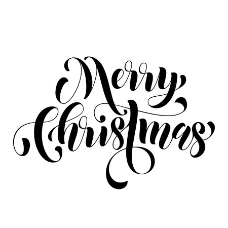 weihnachten: Merry Christmas lettering holiday greeting card. Happy New Year vector hand drawn festive text for banner, poster, invitation background. International feliz navidad, joyeux noel, weihnachten greeting