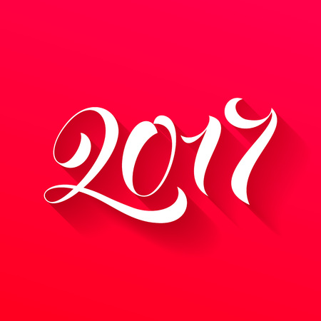 Happy New Year 2017 lettering holiday greeting card. Vector hand drawn festive text New Year for banner, poster, invitation background. International ano nuevo, joyeux noel, neues jahr greeting Illustration