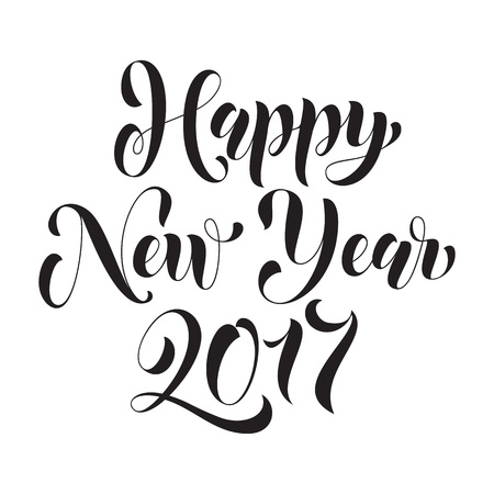 joyeux: Happy New Year 2017 lettering holiday greeting card. Vector hand drawn festive text New Year for banner, poster, invitation background. International ano nuevo, joyeux noel, neues jahr greeting Illustration