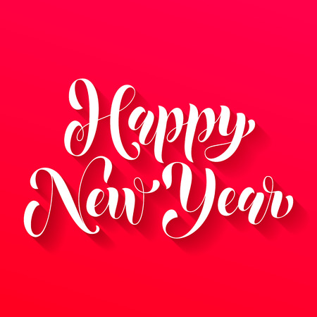 Happy New Year 2017 lettering holiday greeting card. Vector hand drawn festive text New Year for banner, poster, invitation background. International ano nuevo, joyeux noel, neues jahr greeting 矢量图像