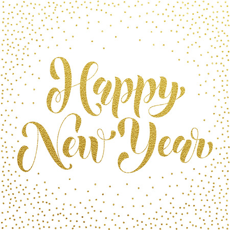 text year: Happy New Year 2017 gold glitter lettering for greeting card. Vector hand drawn festive text New Year for banner, poster, invitation. International ano nuevo, joyeux noel, neues jahr greeting