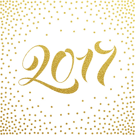 ano: Happy New Year 2017 gold glitter lettering for greeting card. Vector hand drawn festive text New Year for banner, poster, invitation. International ano nuevo, joyeux noel, neues jahr greeting