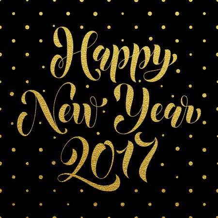 nuevo: Happy New Year 2017 gold glitter lettering for greeting card. Vector hand drawn festive text New Year for banner, poster, invitation. International ano nuevo, joyeux noel, neues jahr greeting