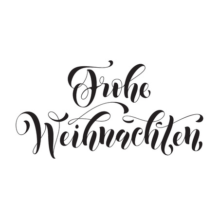 german: Frohe Weihnachten german Christmas greeting card. Vector hand drawn festive text Frohe Weihnachten for banner, poster, invitation on white background