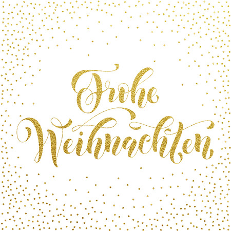 weihnachten: Frohe Weihnachten german Christmas gold glitter lettering for greeting card. Vector hand drawn festive text Frohe Weihnachten for banner, poster, invitation on white background