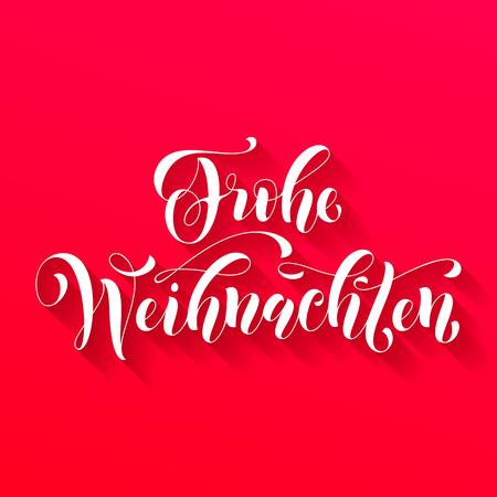weihnachten: Frohe Weihnachten german Christmas greeting card. Vector hand drawn festive text Frohe Weihnachten for banner, poster, invitation on red pink background Illustration