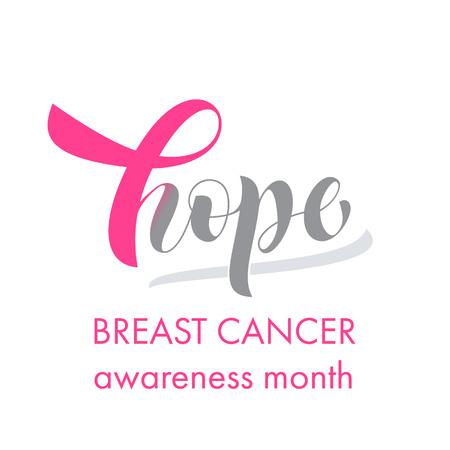 Emblema de la cinta rosada del cáncer de pecho para la campaña de concienciación internacional del cáncer de octubre. Etiqueta de lema de lema de esperanza con diseño de cinta de color rosa del vector en icono de forma de corazón de amor