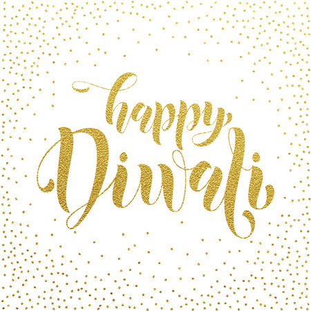dipawali: Happy Diwali gold glittering text for greeting card. Diwali or Deepavali festival holiday vector banner on white background. Diwali indian hindu festival of lights