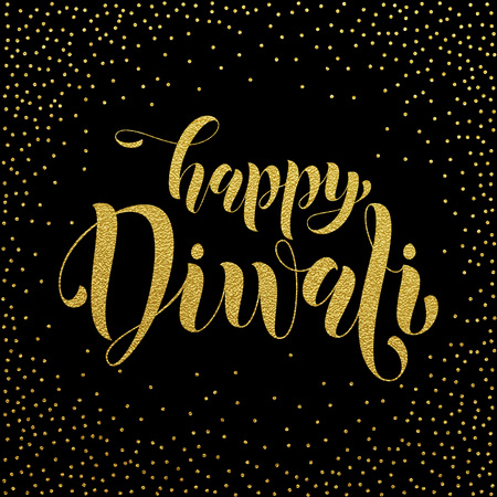 festival of lights: Happy Diwali gold glittering text for greeting card. Diwali or Deepavali festival holiday vector banner on white background. Diwali indian hindu festival of lights