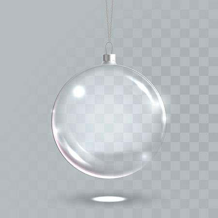 Transparente Weihnachtskugel. 3D-Vektor isoliert Glaskugel Ball mit realistischen Lichtreflexion hängen. Weihnachtsbaum, neues Jahr 2017 Dekoration Mock-up Beispielmodell