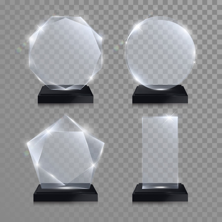 premi trofeo Set di vetro. Vettore di cristallo 3D mockup premio trasparente con piedistallo su sfondo grigio. premio acrilico vetro modello cerchio rotondo per l'incisione. cerchio rotondo, quadrato, a pianta ottagonale, a forma di stella