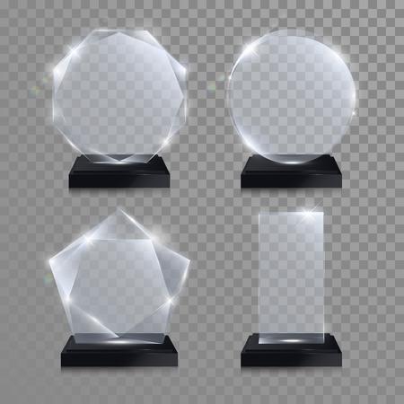 zestaw nagród Szklane trofeum. Wektor 3D crystal przejrzyste wyróżnienie makieta ze stojakiem na szarym tle. Szkło akrylowe nagroda modelu okrągłe koło do grawerowania. Okrągły koło, kwadrat, ośmiokątny kształt gwiazdy