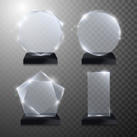 Glass trophy awards set. Vector crystal 3D transparent award mockup with pedestal on gray background. Glass acrylic prize round circle model for engraving. Round circle, square, octagonal, star shape
