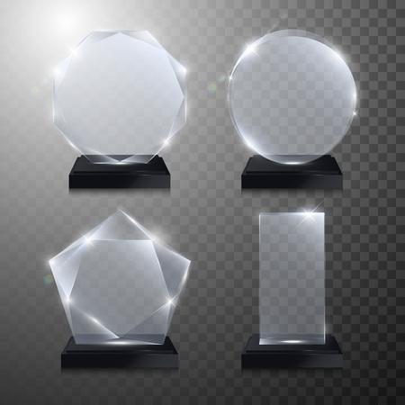 reconocimientos: premios de trofeo de cristal situado. Vector 3D de cristal transparente con maqueta premio pedestal sobre fondo gris. premio de acrílico cristal modelo de círculo redondo para el grabado. círculo redondo, cuadrado, octogonal, forma de estrella