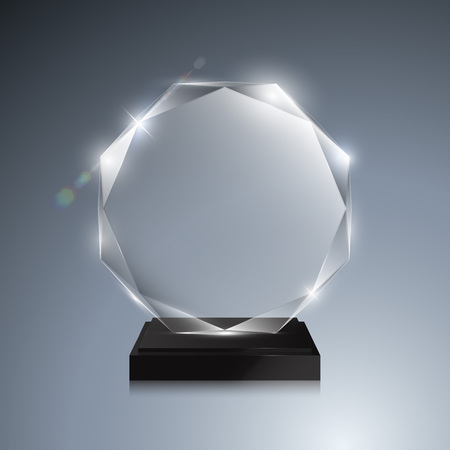 Glass trophy award. Vector crystal 3D transparent award mockup with pedestal on gray background. Glass acrylic prize octagonal model for engraving