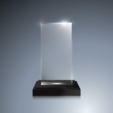 Glass trophy award. Vector crystal 3D transparent award mockup with pedestal on gray background. Glass acrylic prize square model for engraving Illustration
