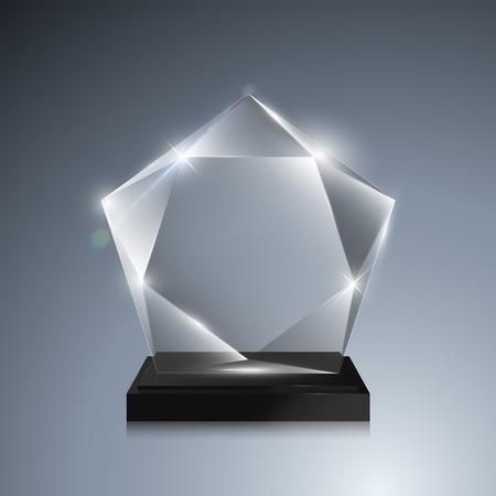 trofeo: Premio trofeo de cristal. Vector 3D de cristal transparente con maqueta premio pedestal sobre fondo gris. Vidrio acrílico modelo de premio para el grabado