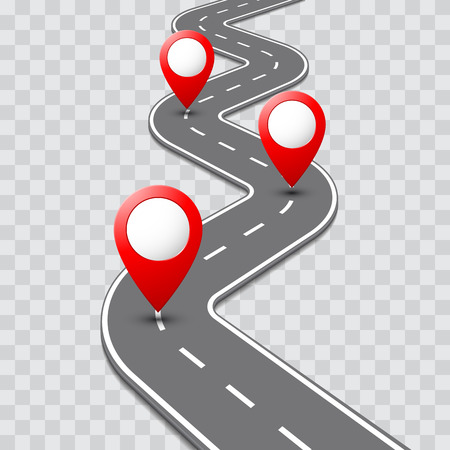 Vector pathway road map with route with location pin icon on the way track. Roadmap direction navigation map GPS template design Ilustracja