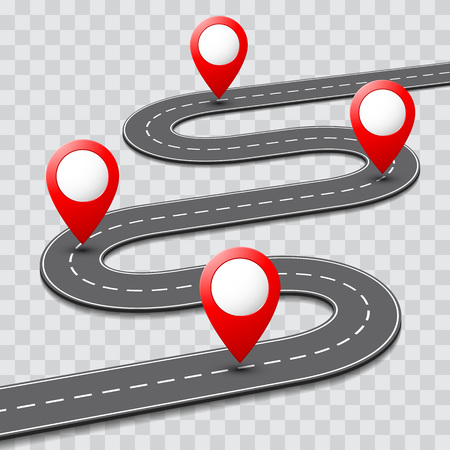 Vector pathway road map with route with location pin icon on the way track. Roadmap direction navigation map GPS template design Иллюстрация