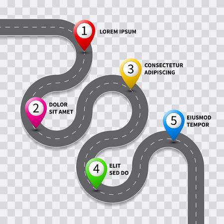 cartina stradale Vector percorso con rotta con l'icona posizione perno sulla strada pista. Tabella di marcia mappa direzione di navigazione GPS infografica volantino modello di progettazione